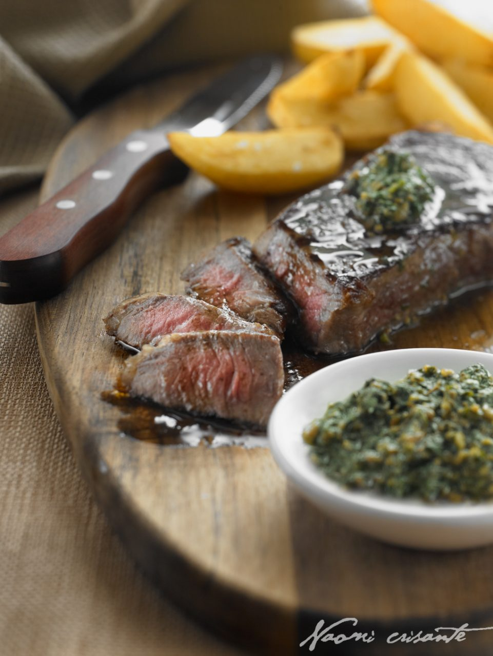 Chargrilled Steak with Fat Chips and Basil Pesto