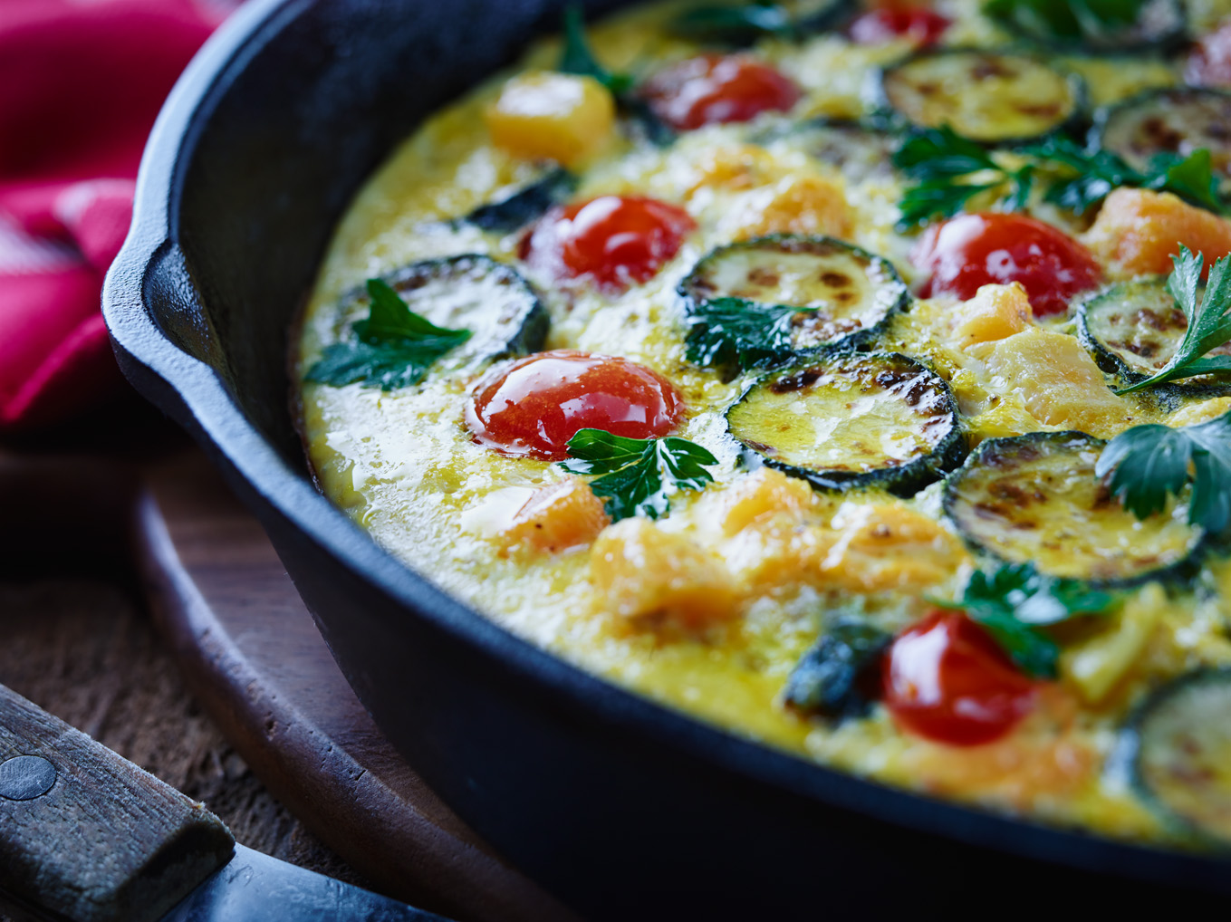 Pumpkin, Zucchini and Cherry Tomato Frittata