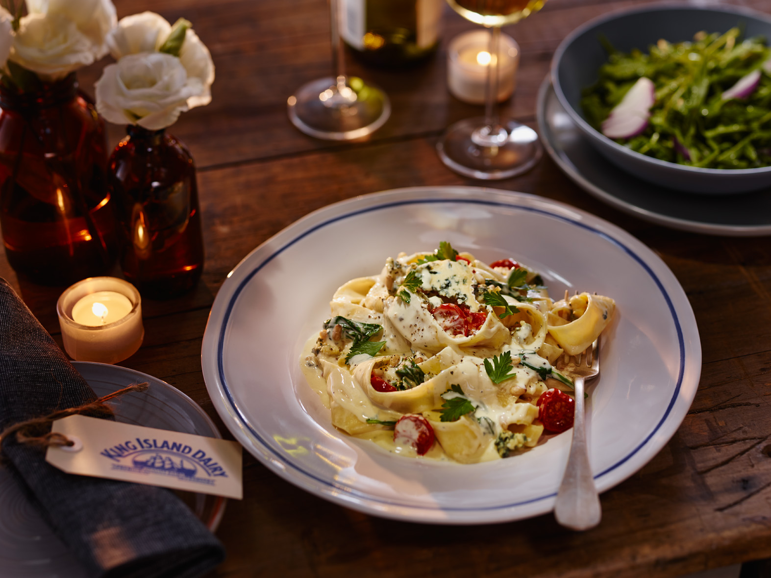 Blue Cheese Pappardelle with Spinach and Slow Roasted Tomatoes