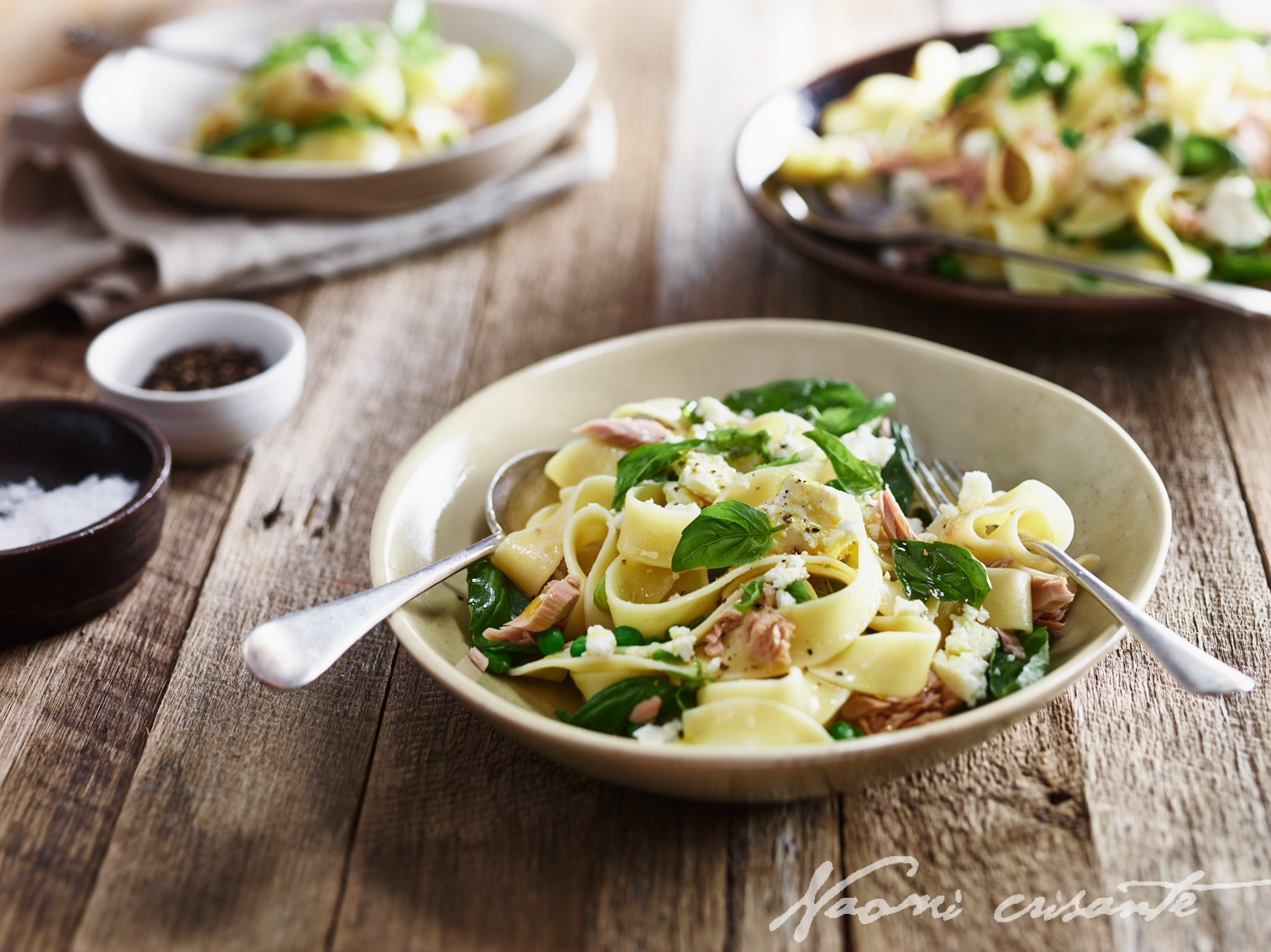 Tuna, Pea and Basil Pappardelle with Feta Cheese