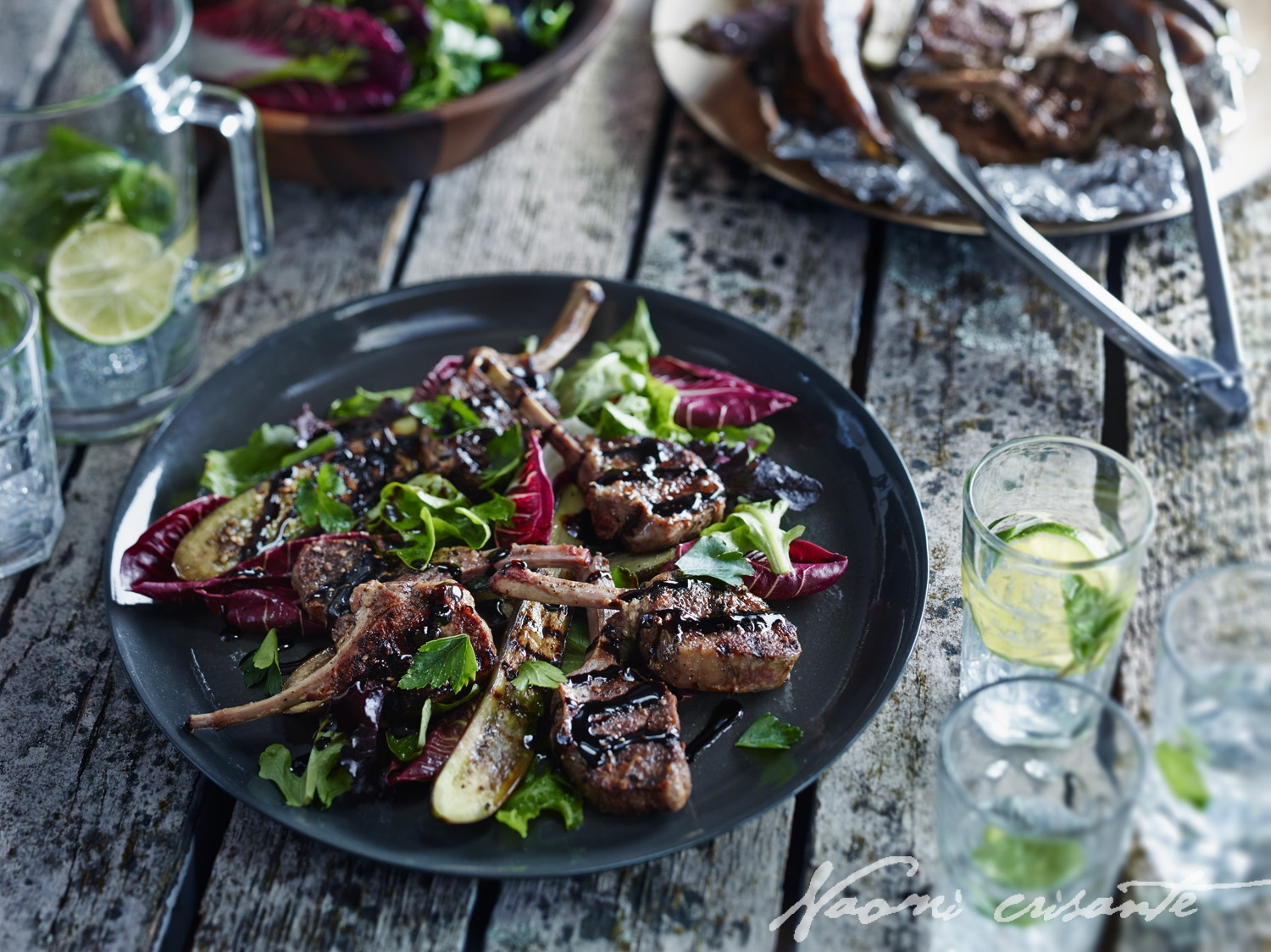 Peppery Balsamic Lamb Cutlets with Chargrilled Eggplant and Mixed Leaves