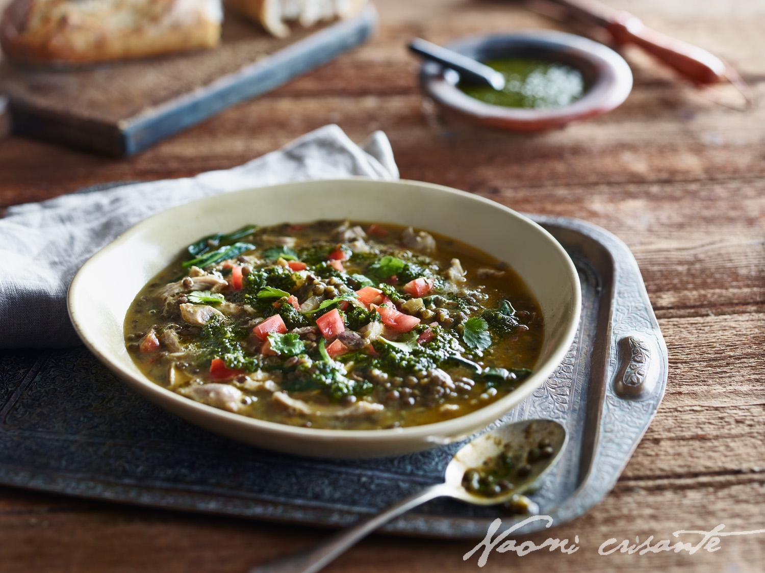 Moroccan Chicken, Lentil and Spinach Soup with Coriander Oil