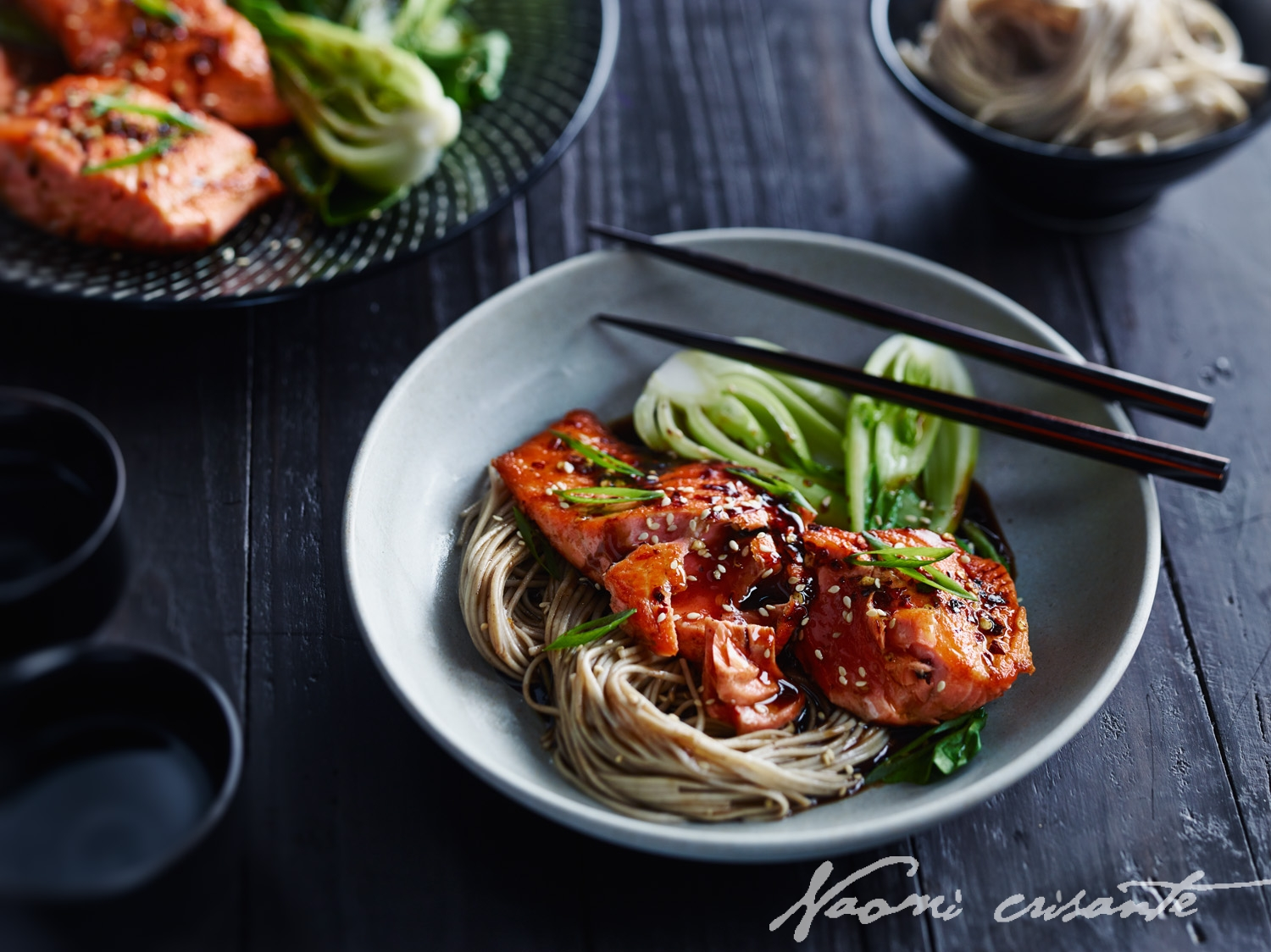 Chilli Seared Salmon with Soba Noodles and Honeyed Balsamic Sauce