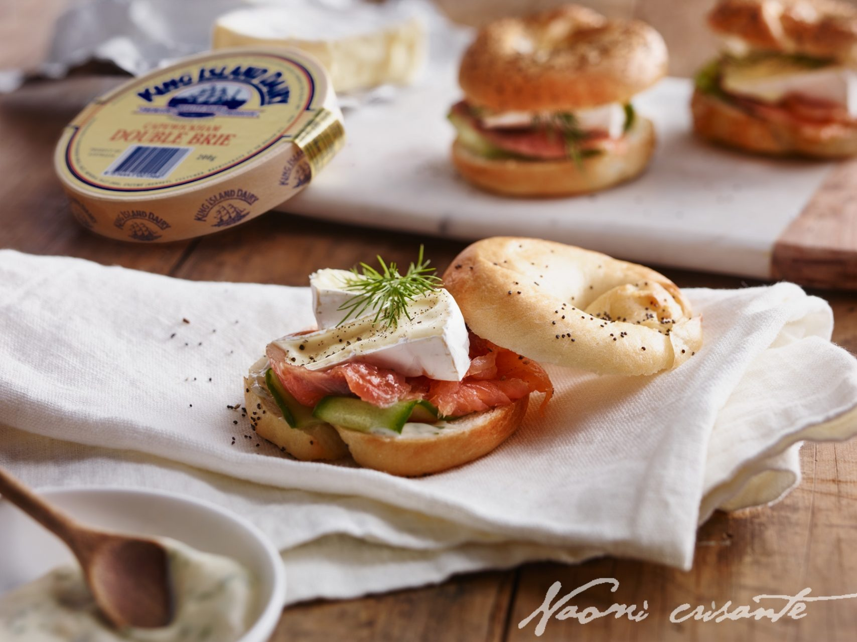 Double Brie, Smoked Salmon and Cucumber Bagels