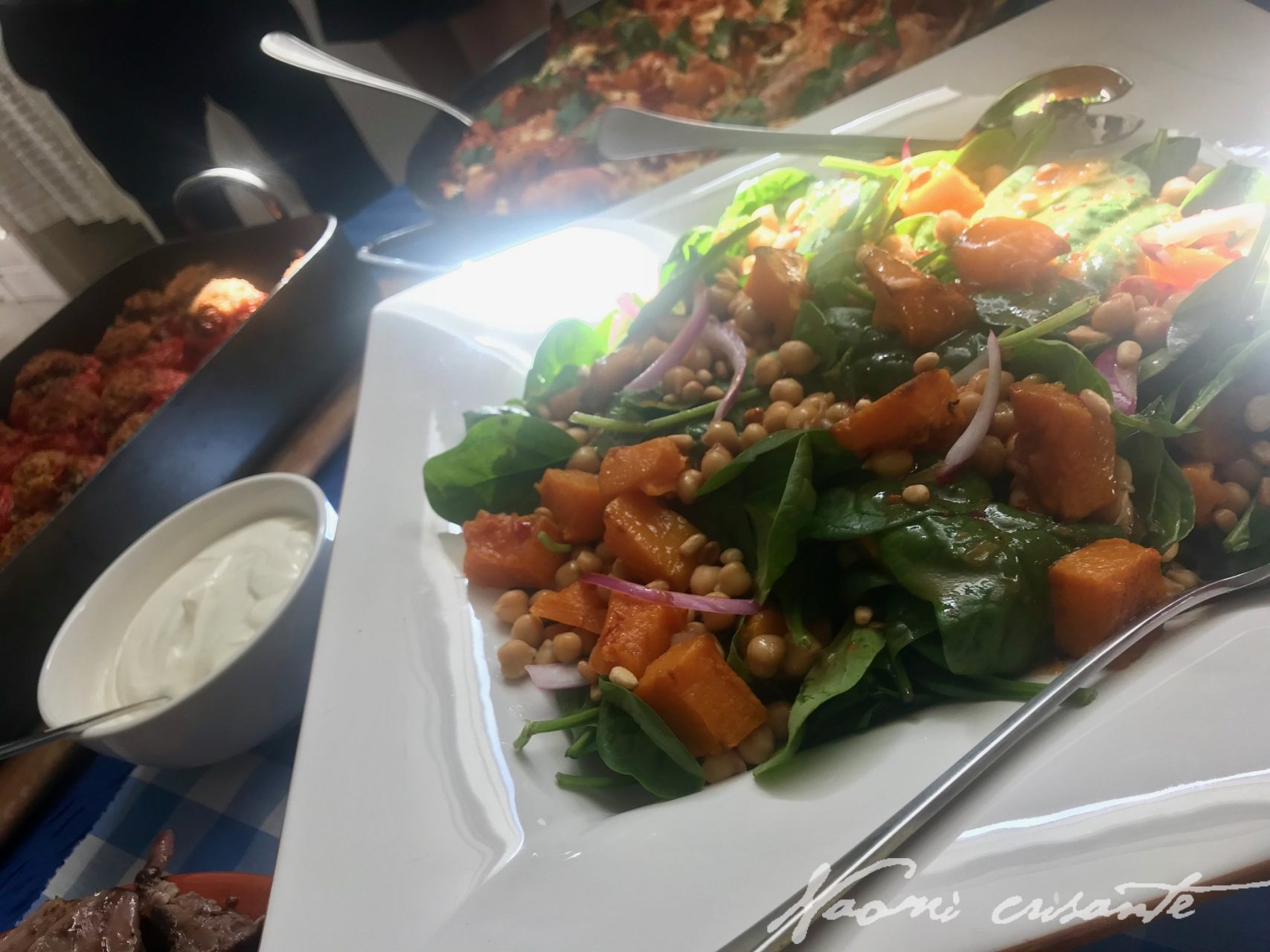 Pumpkin, Spinach and Chickpea Salad