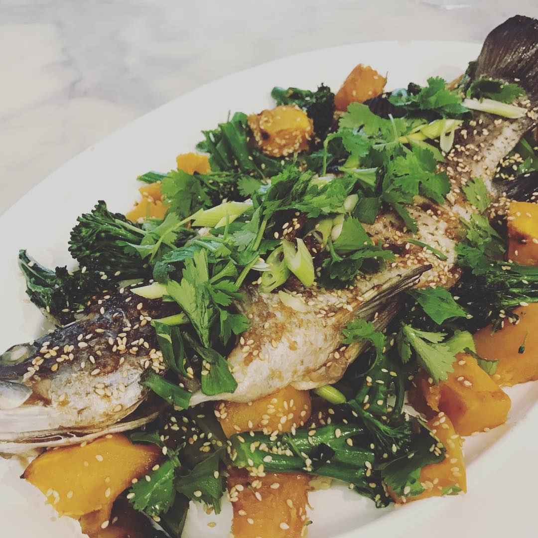 Roast Trout with Ginger, Sesame and Coriander