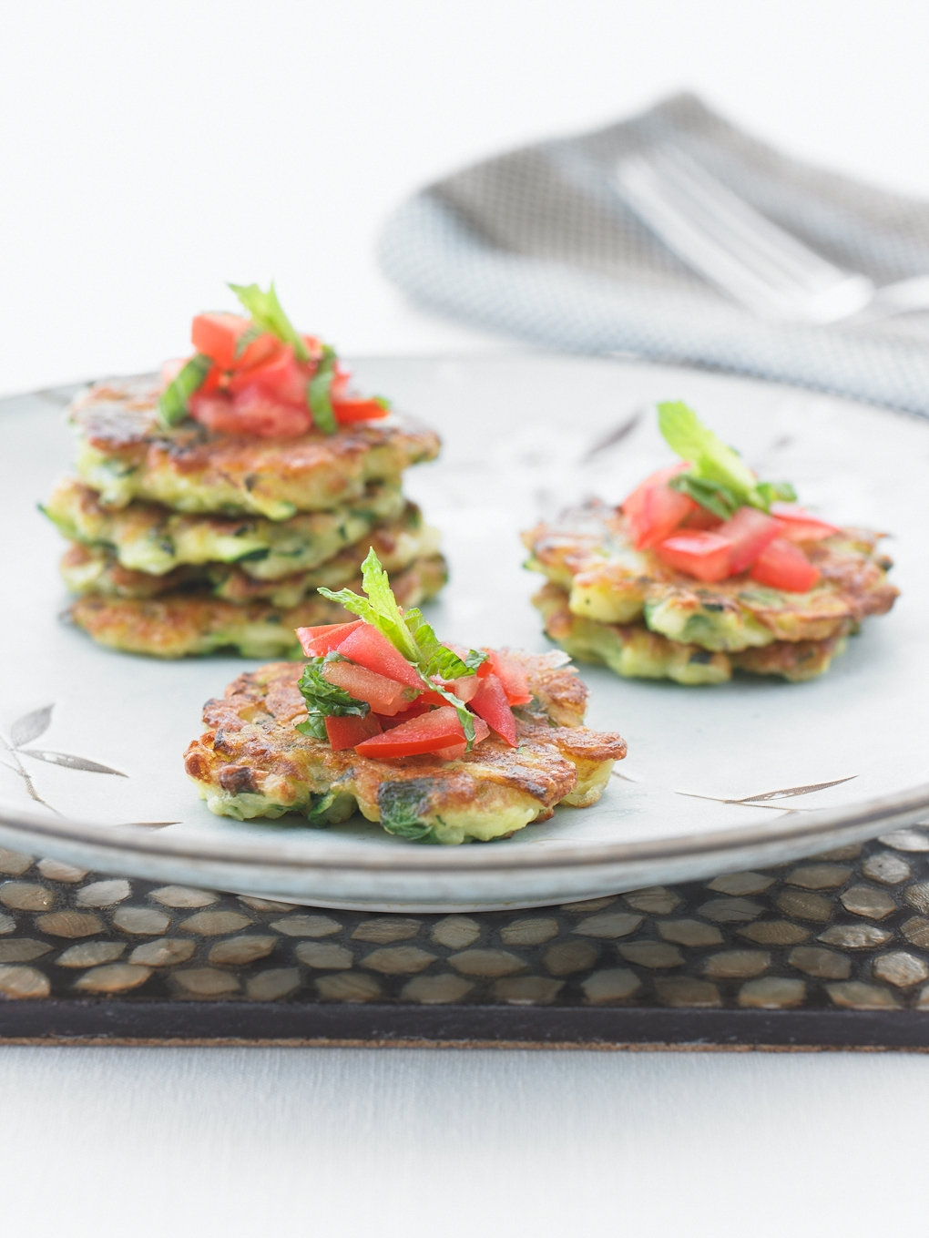 Haloumi Fritters with Tomato and Mint