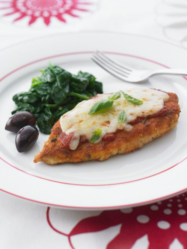 Basil Chicken Parmigiana with Buttered Garlic Spinach