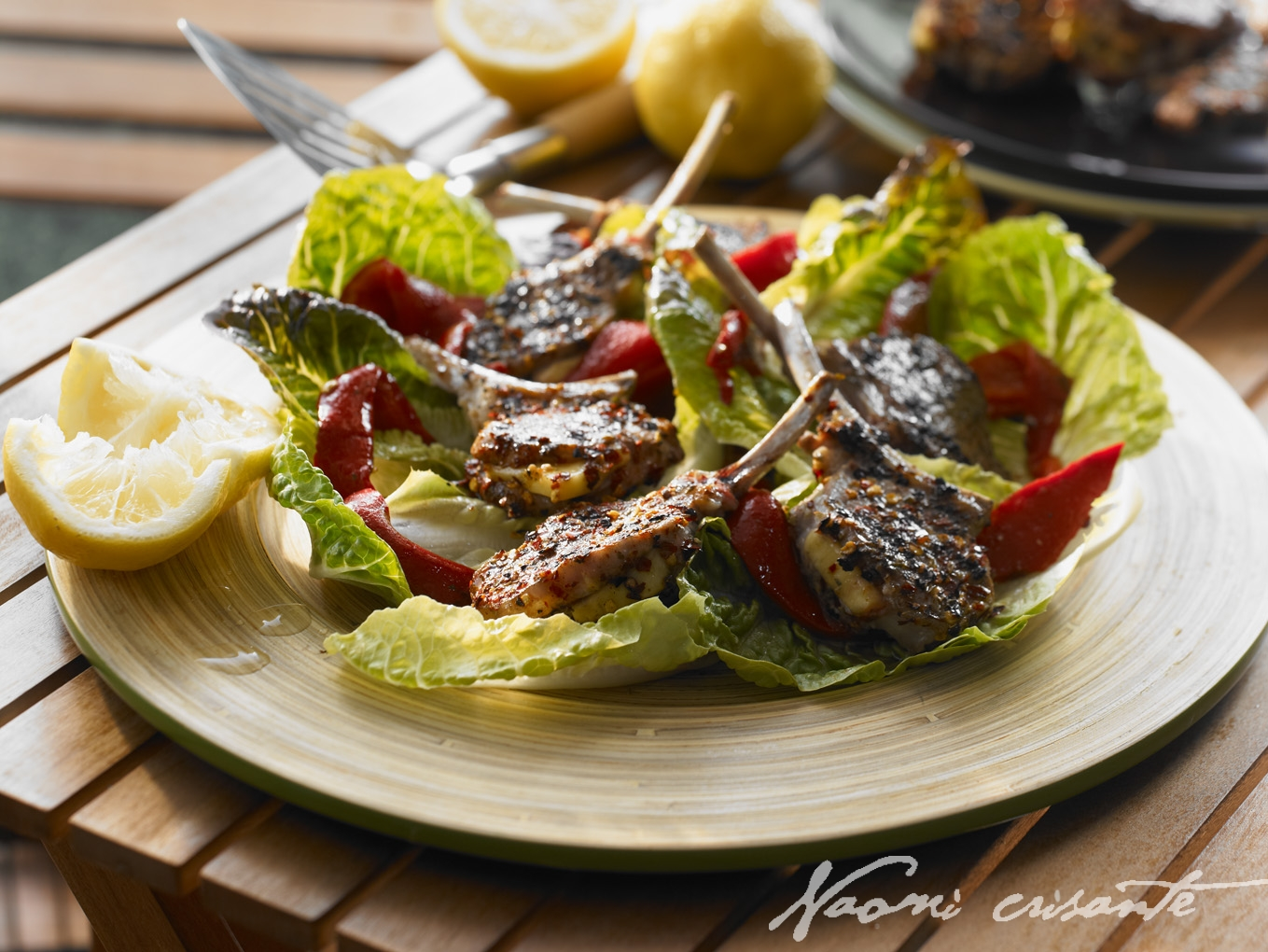 Haloumi Lamb Cutlets with Roast Capsicum in Cos Leaves