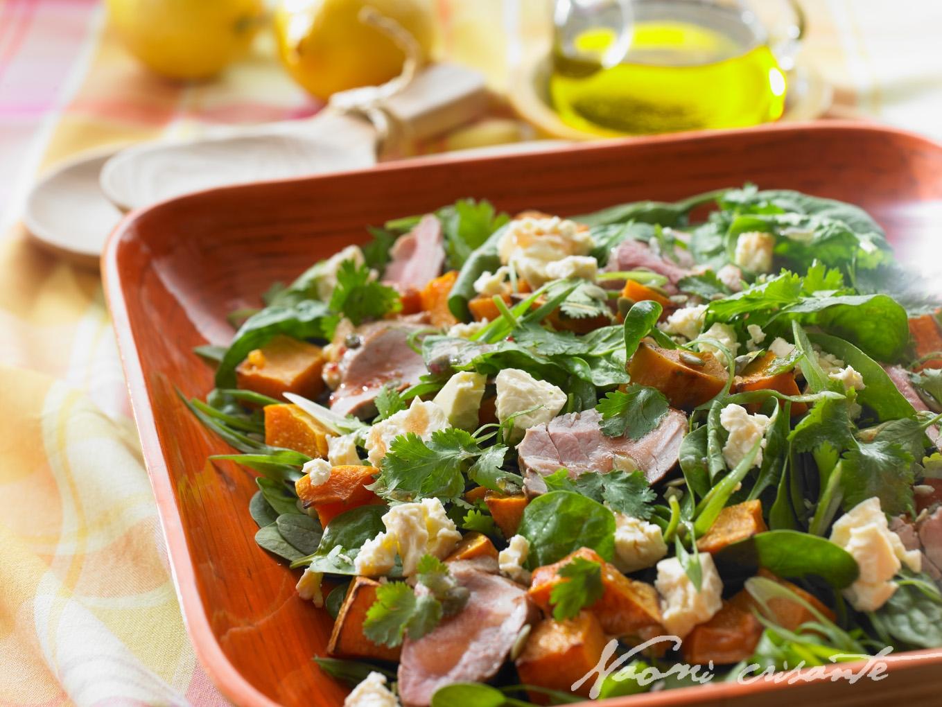 Roast Pumpkin, Spinach, Fetta and Coriander Salad with BBQ Pork