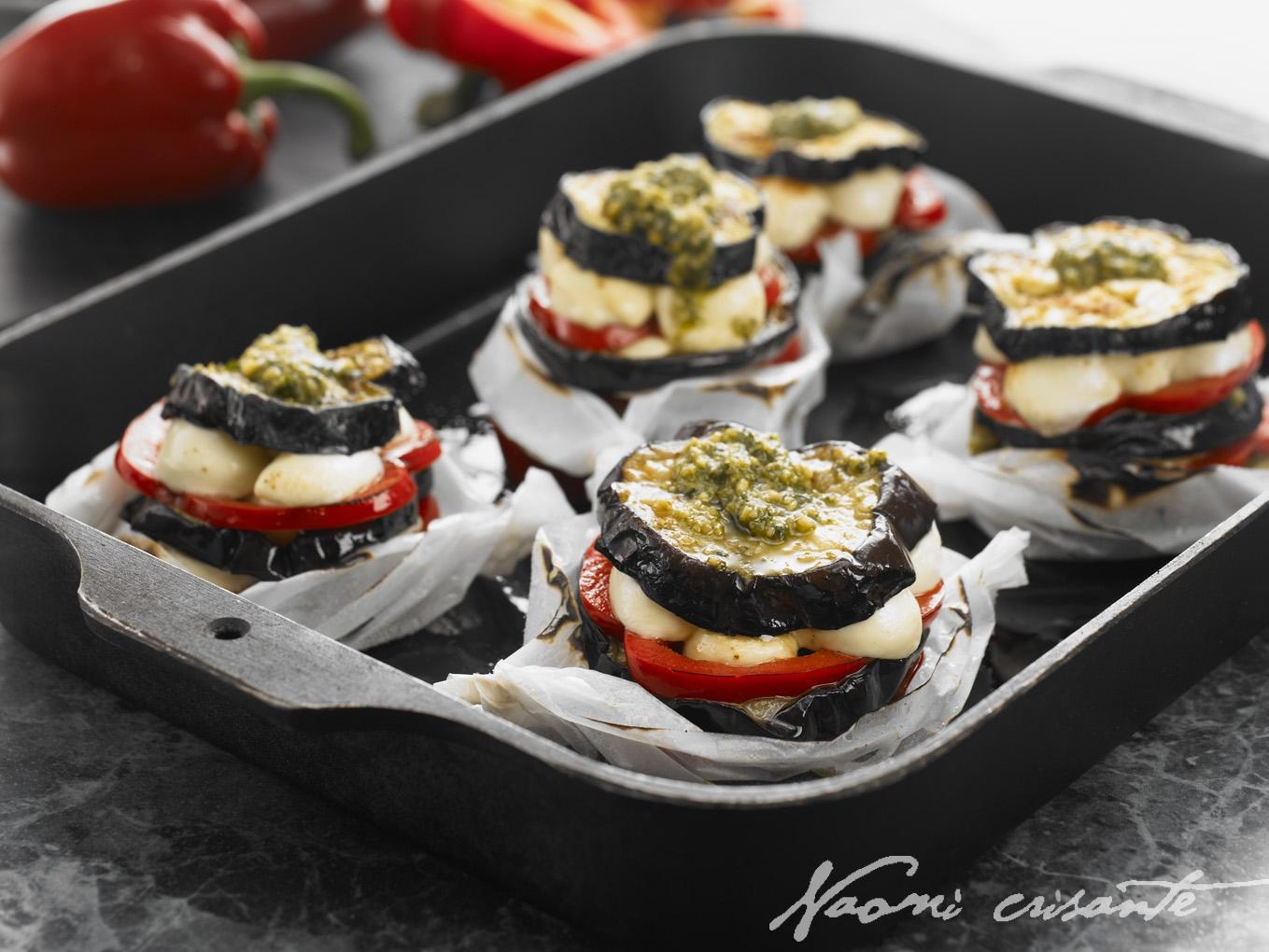 Eggplant, Pesto and Bocconcini Stacks