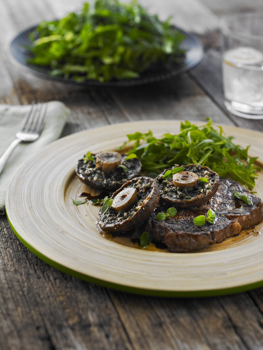 BBQ Beef Steaks with Garlic Oregano Mushrooms