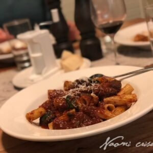 Rigatoni with Italian Sausage and Spinach Ragu