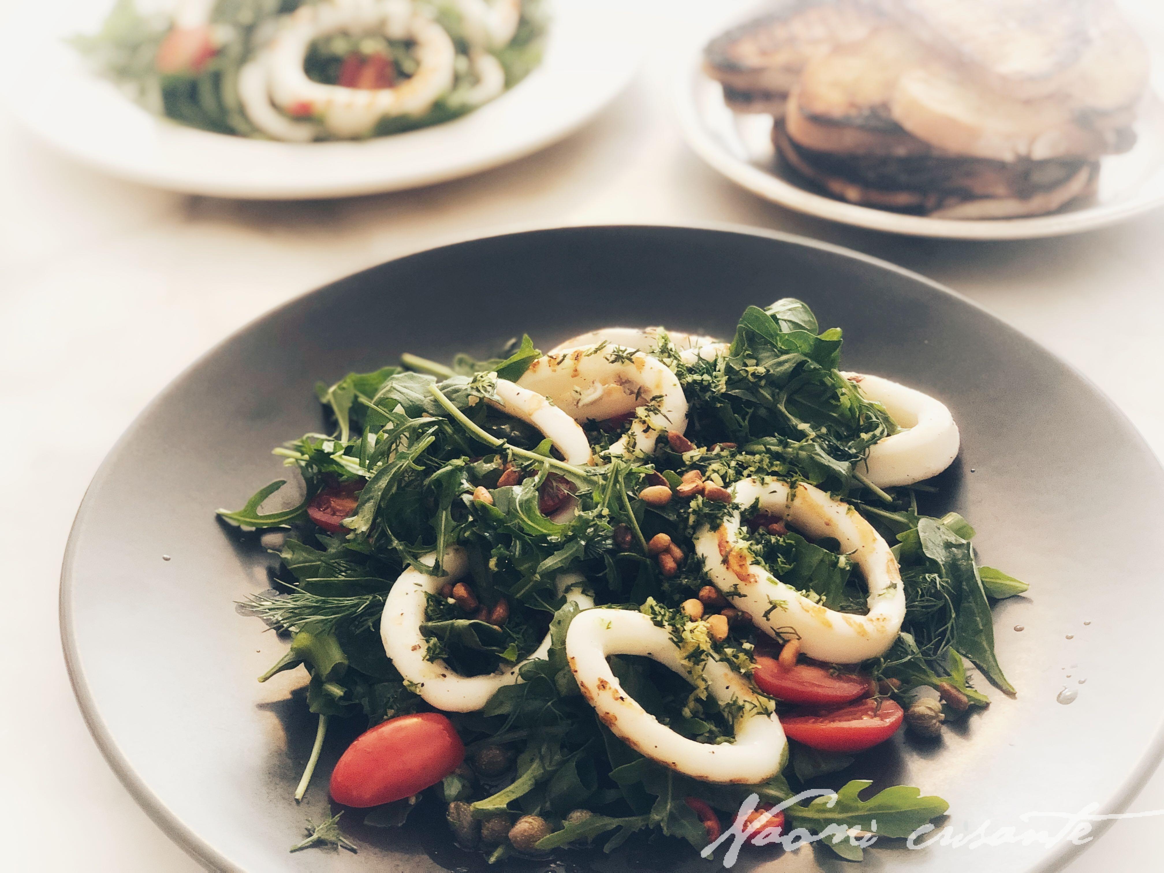 Calamari and Rocket Salad with Dill Gremolata