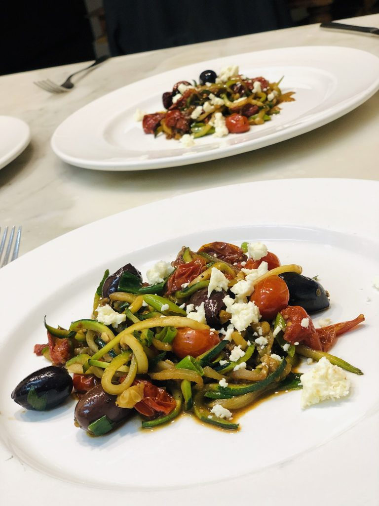 Zoodles with Tomato, Olives and Feta