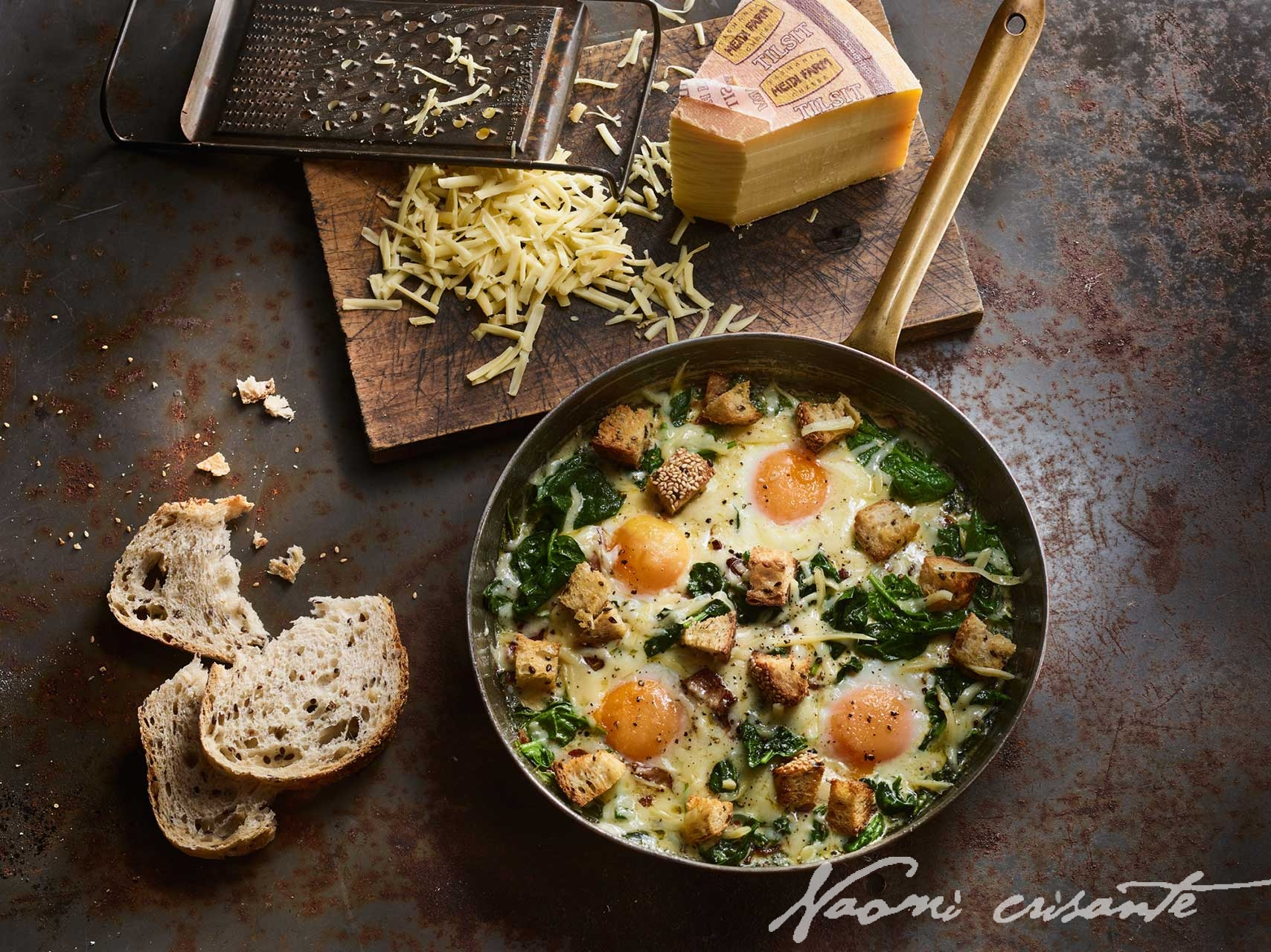 Spinach and Tilsit Baked Eggs with C