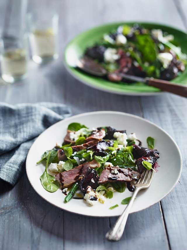 Grilled Beef with Beetroot, Mint and Feta Salad
